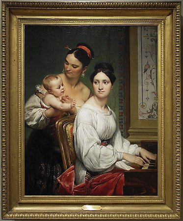 Portrait of the Marchesa Cunegonda Misciattelli  with Her Infant Son and His Nurse, Emile-Jean-Horace Vernet, 1830