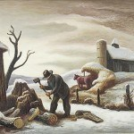 "Benton, Thomas Hart, Woodchopper, 1936 Gift of Mrs. Fred Greiner Tempera on masonite, 14 1/2"" x 18 1/5"" Art © T.H. Benton and R.P. Benton Testamentary Trusts/UMB Bank Trustee/Licensed by VAGA, New York, NY"