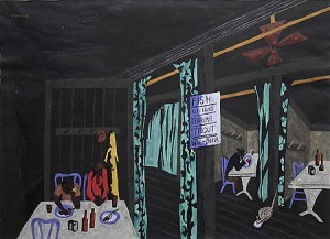 """Jacob Lawrence, Diners (also, Café Scene), 1942 Gift of C. Leonard Pfeiffer Gouache on paper, 14 1/4"""" x 20"""" © 2013 The Jacob and Gwendolyn Lawrence Foundation, Seattle / Artists Rights Society (ARS), New York"""