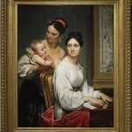 "Vernet, Horace, Portrait of the Marchesa Cunegonda Misciattelli with Her Infant Son and His Nurse, 1830 Gift of Samuel K. Kress Foundation Oil on canvas, 52"" x 40 1/2"""