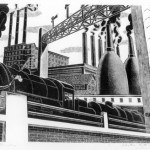 """Pinto, Salvatore, Locomotive, 1935 Allocated by the U.S. Government Commissioned through the New Deal art projects Wood engraving on tissue, 7"""" x 10 1/5"""""""