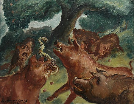 John Steuart Curry, Hogs Killing a Rattlesnake, 1930