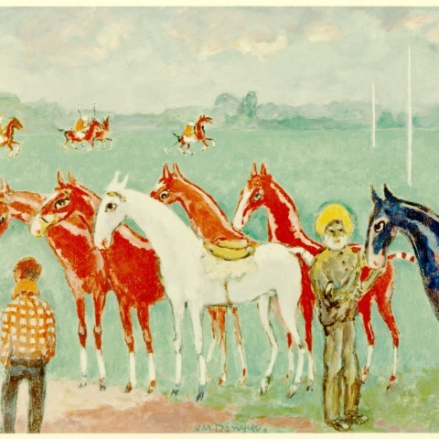 Dongen, Kees van,  Soins donnés aux chevaux de course (Caring for the Racehorses), ca. 1920; Oil on canvas, Gift of Edward Joseph Gallagher, Jr.