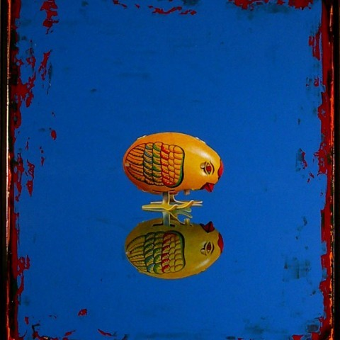 Philip Michelson, Chicken Studying Reflection, Acrylic on plexiglass, 2005