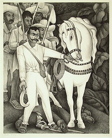 "Diego Rivera, ""Zapata,"" 1932, Litograph, Museum purchase with funds provided by the Edward J. Gallagher, Jr. Memorial Fund"