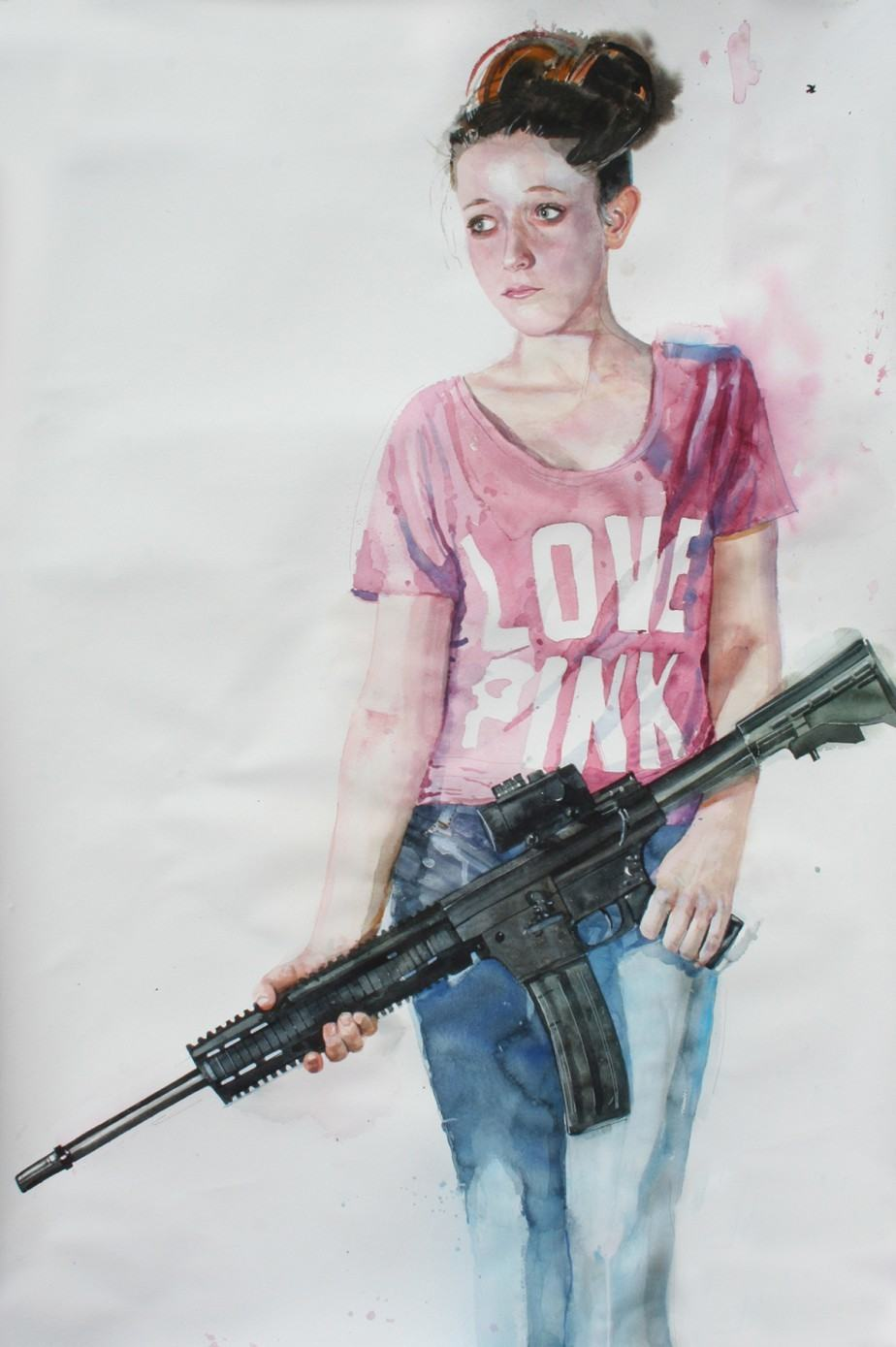 """Jackson Boelts, """"WarZone - What If? M#1,"""" 2014, Watercolor on paper"""