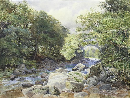 "William Henry Millais, ""The River Deveron From Huntley Lodge, Aberdeenshire,"" 1866, Watercolor on Paper, Museum Purchase with Funds Provided by the Edward J. Gallagher, Jr. Memorial Fund"