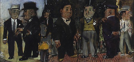 "Jack Levine, ""Dramatis Personae,"" ca. 1942, Oil on board, Gift of C. Leonard Pfeiffer"