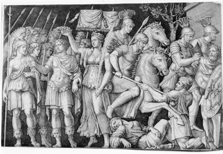 Marcantonio Raimondi, Trajan Crowned by Victory, 1520-1525, Engraving, Museum Purchase with Funds Provided by the Edward J. Gallagher, Jr. Memorial Fund