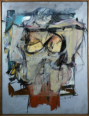 "Willem De Kooning, ""Woman-Ochre,"" 1954-55, Oil on canvas, Gift of Edward Joseph Gallgher, Jr."