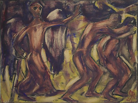 Christian Rohlfs, Austreibung Aus Dem Paradies (Expulsion from Paradise), 1920, Paper laid on board, Museum Purchase with Funds Provided by the Edward J. Gallagher, Jr. Memorial Fund