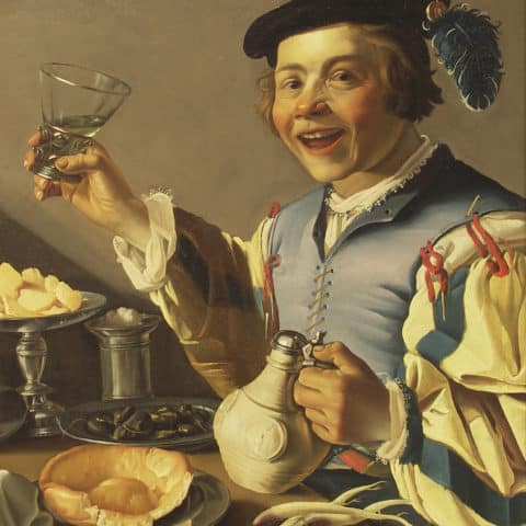 Christiaen van Couwenbergh, Man with Tankard and Glass, 1620s, Oil