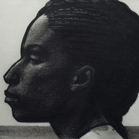 John Woodrow Wilson, Profile of a Woman, 1992, Pastel/Charcoal, Museum purchase with funds provided by the Edward J. Gallagher, Jr. Memorial Fund