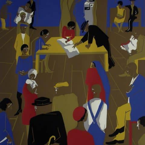 Jacob Lawrence, The 1920's . . . The Migrants Arrive and Cast Their Ballots, 1975, Screenprint, Gift of Lorillard, a Division of Loews Theatres, Inc.