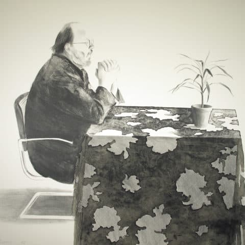 David Hockney, Henry at a Table, 1976, Lithograph, Museum purchase with funds provided by the Edward J. Gallagher, Jr. Memorial Fund