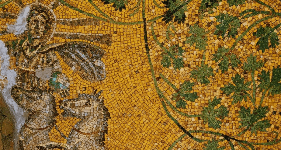 Image: Mosaic Christ as the Sun God, found in the Tomb of Julii in the Vatican necropolis in Rome