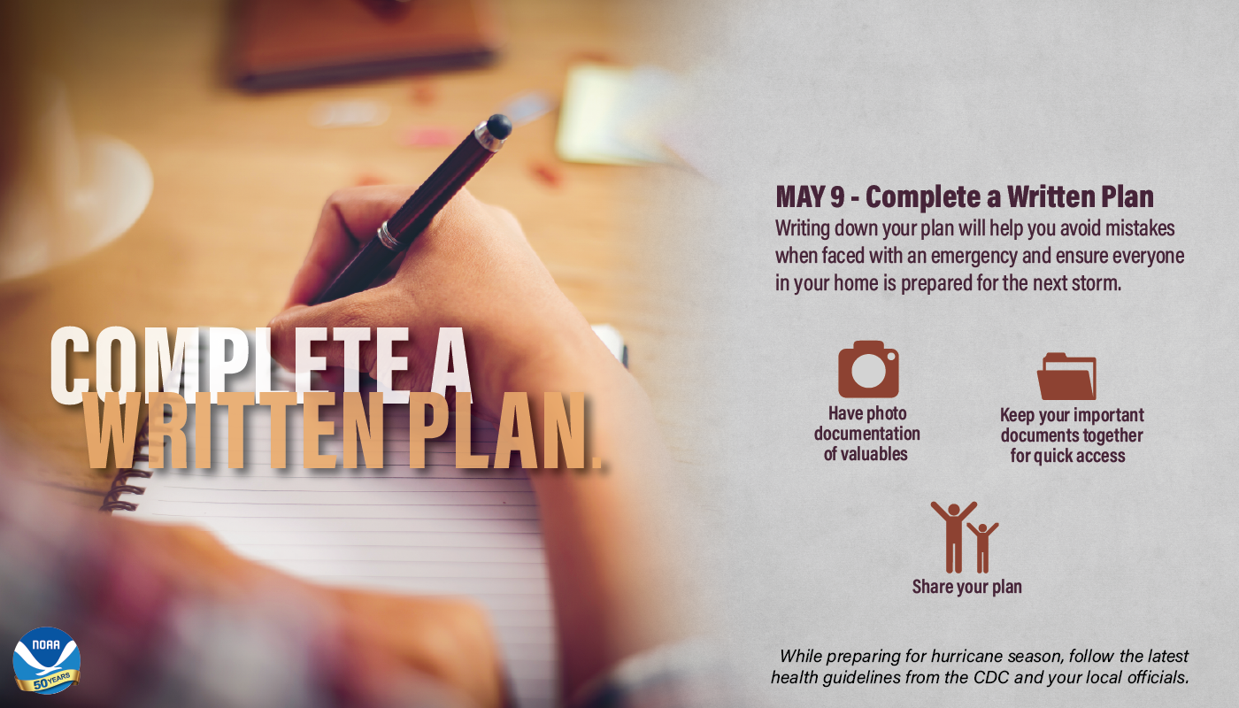 May 9 – Complete a Written Plan. Writing down your plan will help you avoid mistakes when faced with an emergency and ensure everyone in your home is prepared for the next storm. • Have photo documentation of valuables • Keep your important documents together for quick access • Share your plan While preparing for hurricane season, follow the latest health guidelines from the CDC and your local officials.