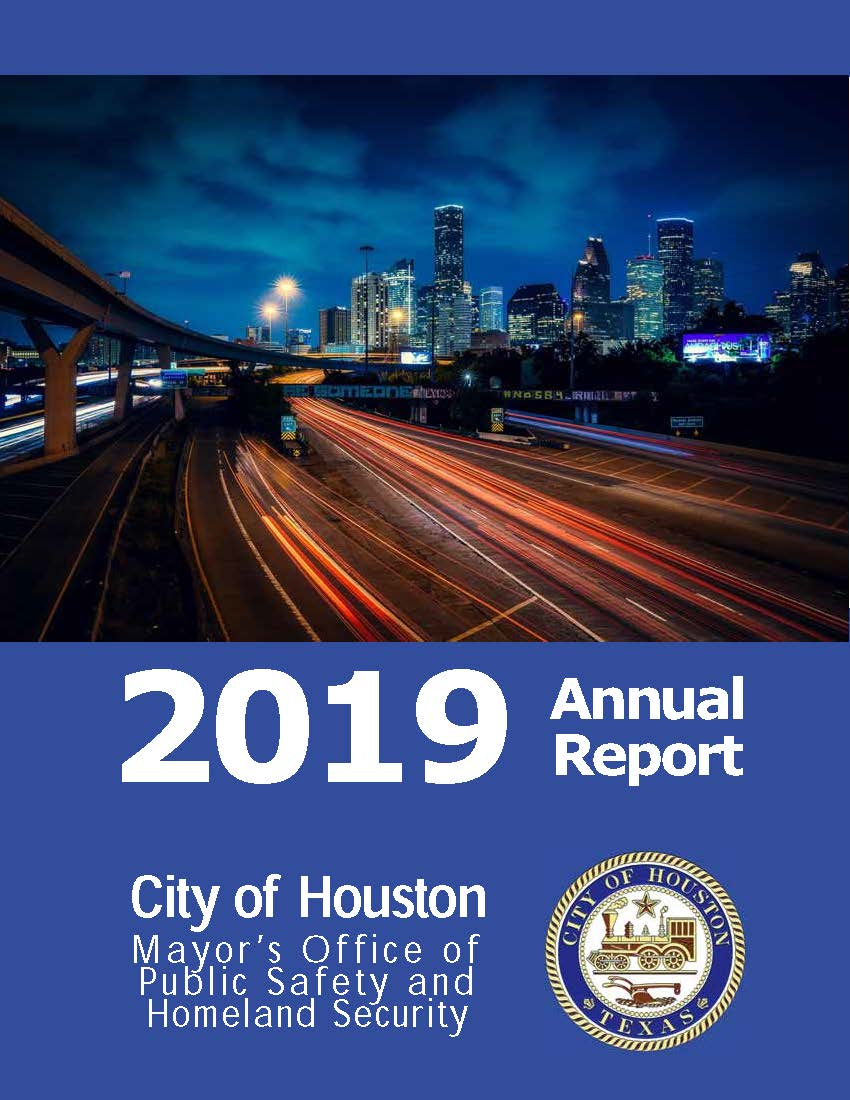 A cover of the 2019 annual report. It includes a night-time photo of the Be Someone bridge, with long-exposure capture of cars below.