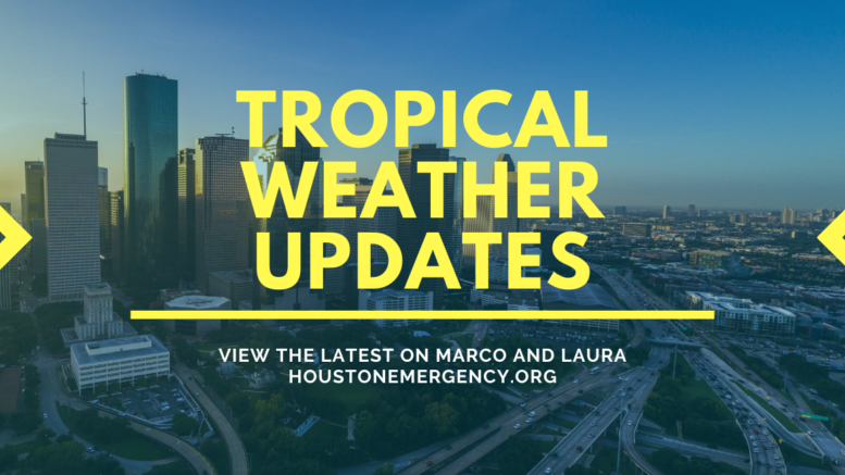 "A graphic that says ""Tropical Weather Updates: view the latest on Marco and Laura, houstonemergency.org"". The Houston skyline is seen in the background, and stylized arrows on the side point to the text in the center."