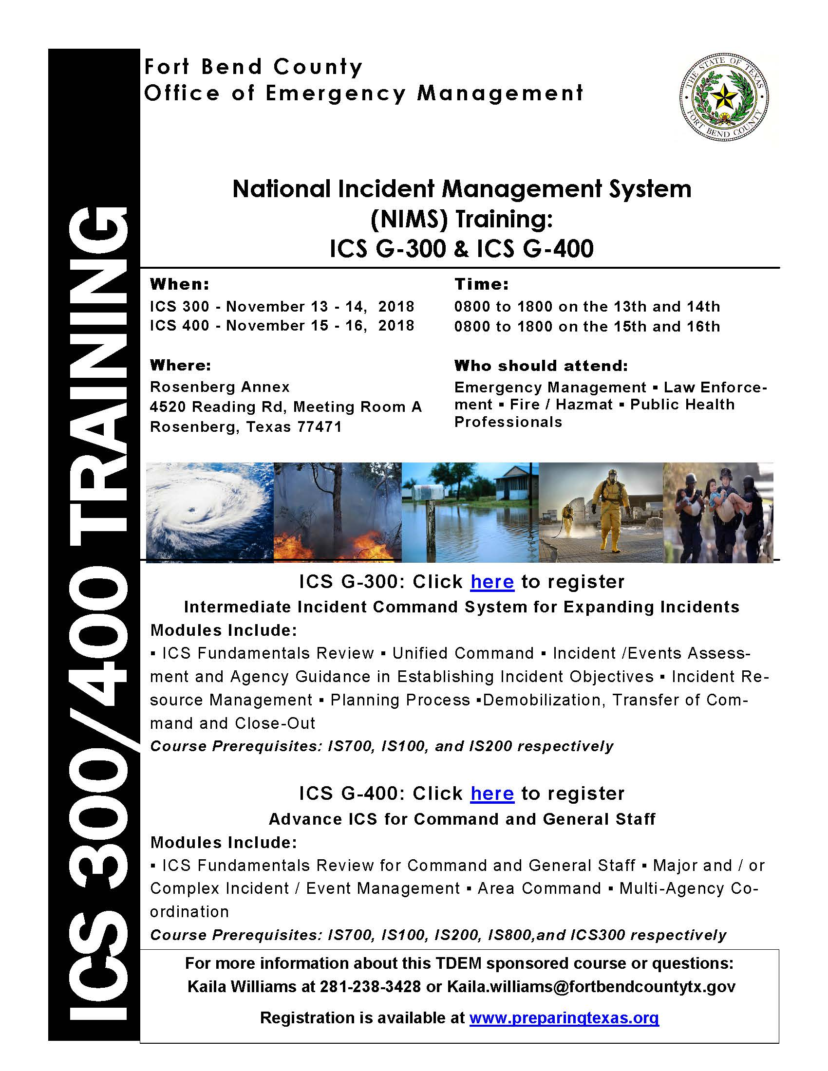 Fort Bend County OEM Training Opportunity: ICS 300/400 – Fort Bend