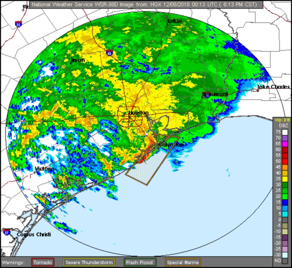 Houston Area Radar Image at 6:19 PM Dec 7