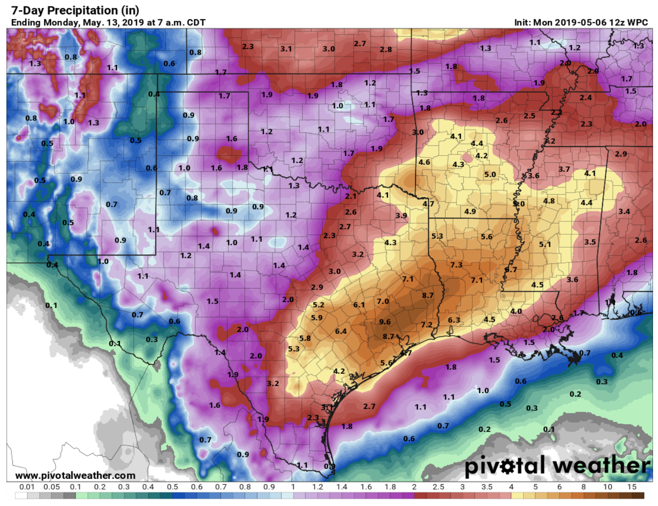 pivotalweather map showing forecast presipitation this week, with 5-8 inches in immediate Brazos river watershed