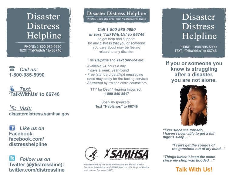 Disaster Distress Helpline Brochure