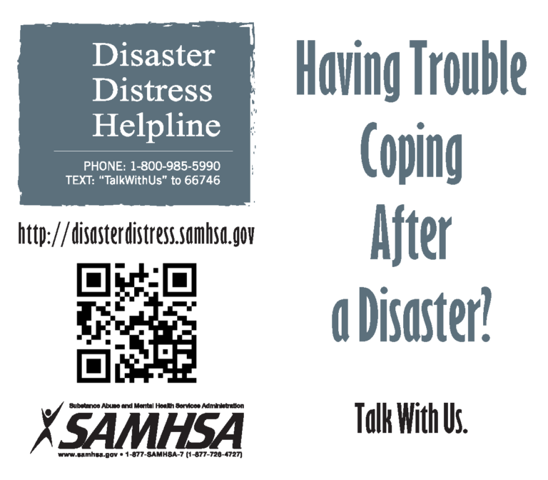 Disaster Distress Helpline walletcard