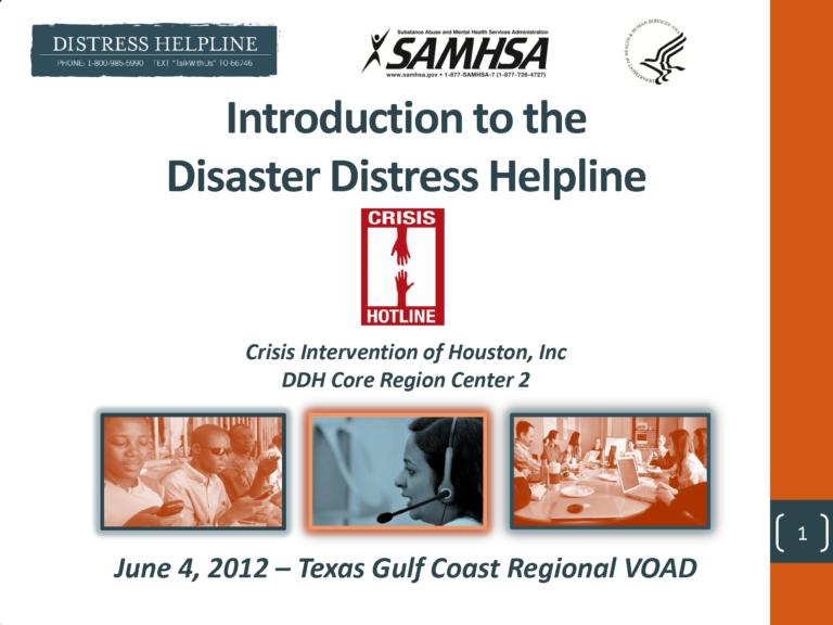 Introduction to the Disaster Distress Helpline