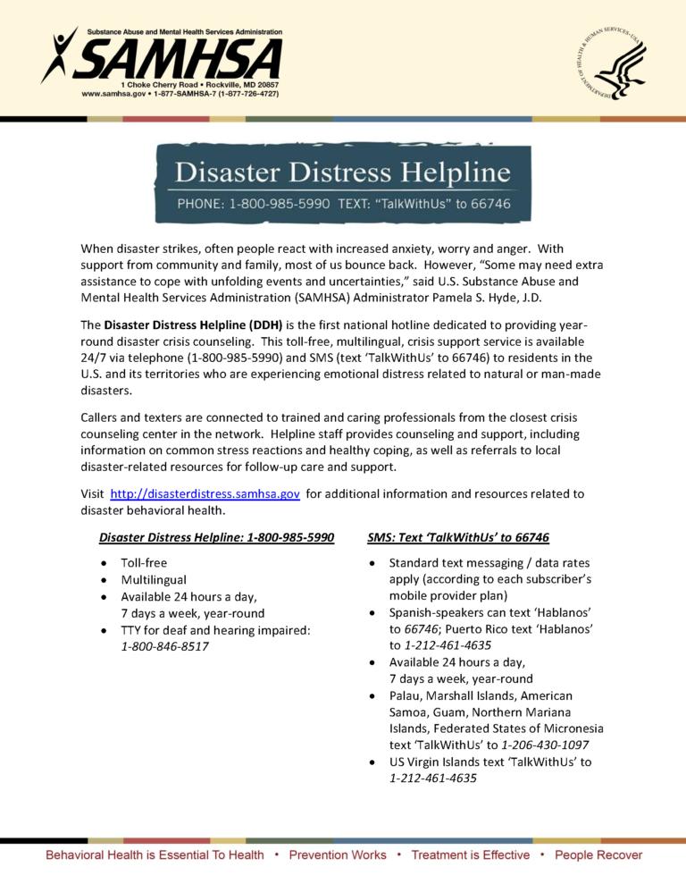 Disaster Distress SAMHSA Flyer
