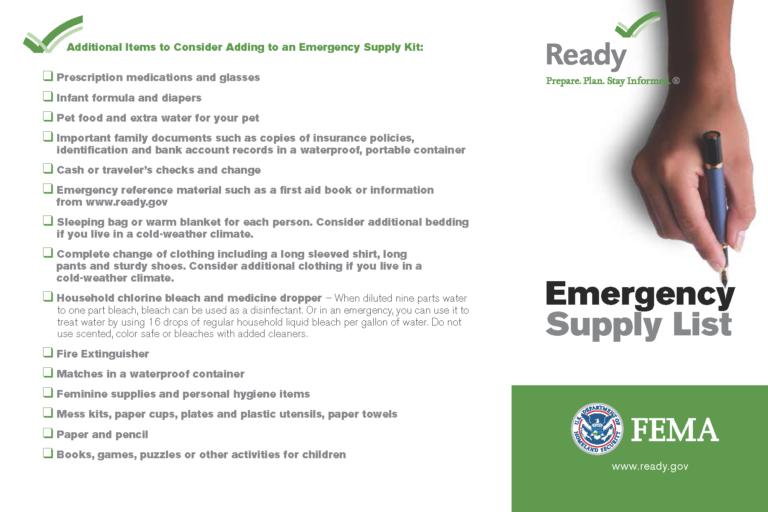 Emergency Supply Kit Checklist