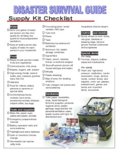 Disaster Survival Guide Check List