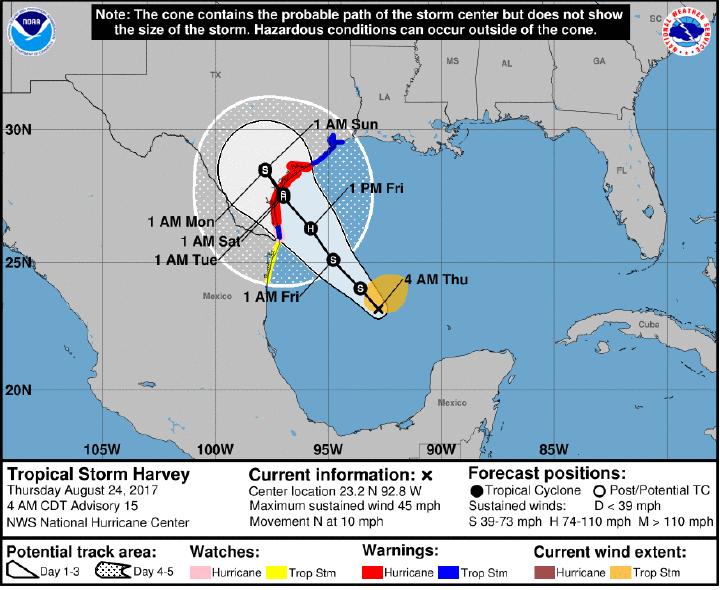 August 24, 2017- Update Tropical Strom Harvey