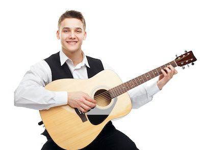Young male wedding guitarist