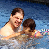 Teaching my Daddy to swim.