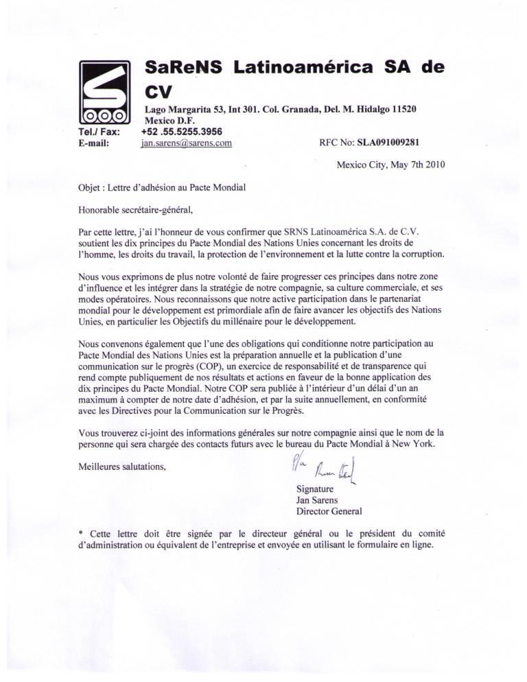 Srns Latinoamerica S A De C V Un Global Compact