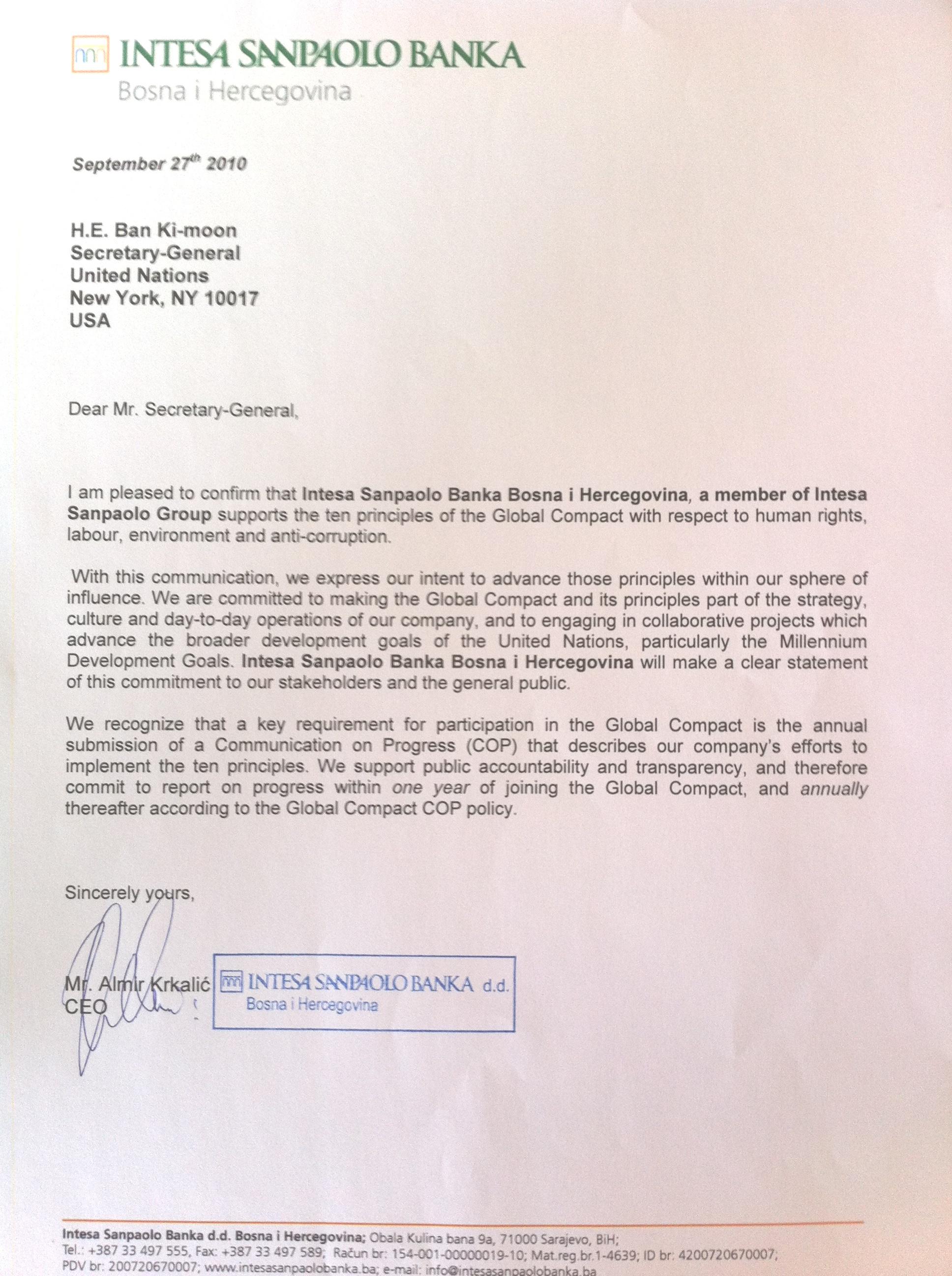 Intesa Sanpaolo Banka BiH d d  Saravejo | UN Global Compact