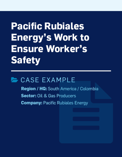 Pacific Rubiales Energy's work to ensure worker's safety