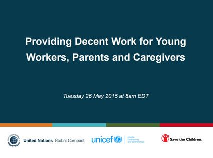 Providing Decent Work for Young Workers, Parents and Caregivers