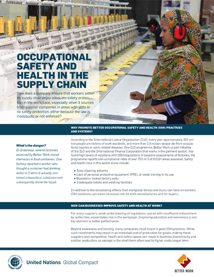 Occupational Safety and Health in the Supply Chain