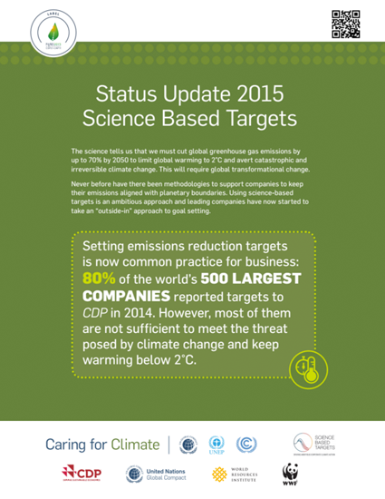 Science-Based Targets: Status Update 2015