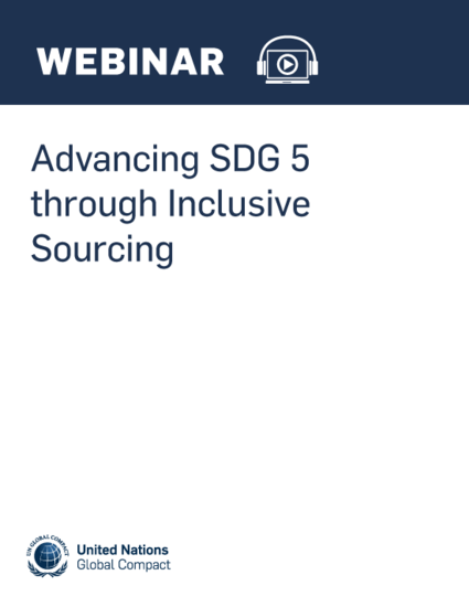 Advancing SDG 5 through Inclusive Sourcing