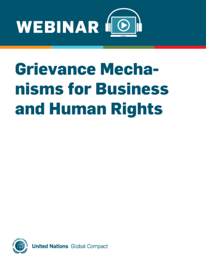 Grievance Mechanisms for Business and Human Rights
