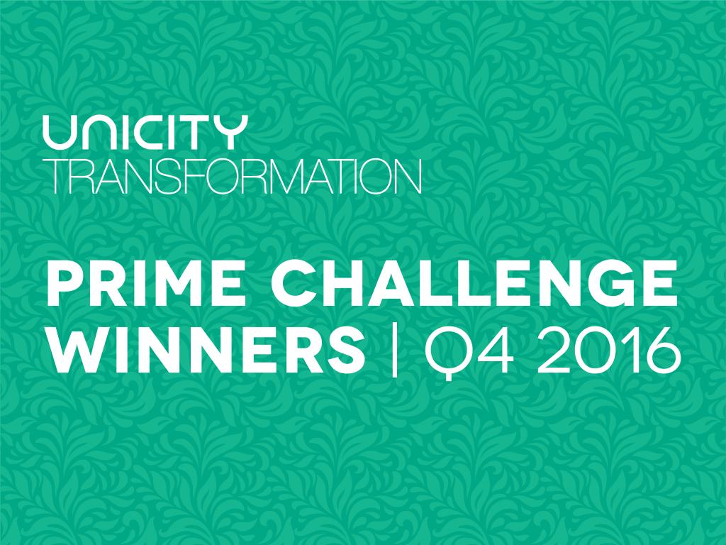 Unicity Prime Challenge Winners Q4 2016