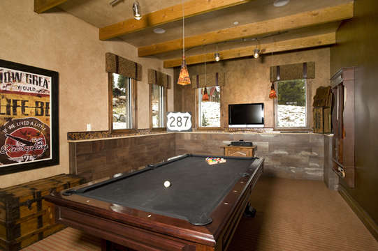 Game Room with bar, pool table, darts, TV