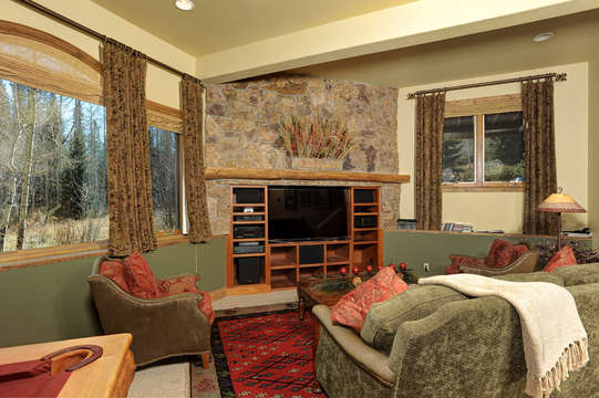 Family Room with surround sound entertainment center