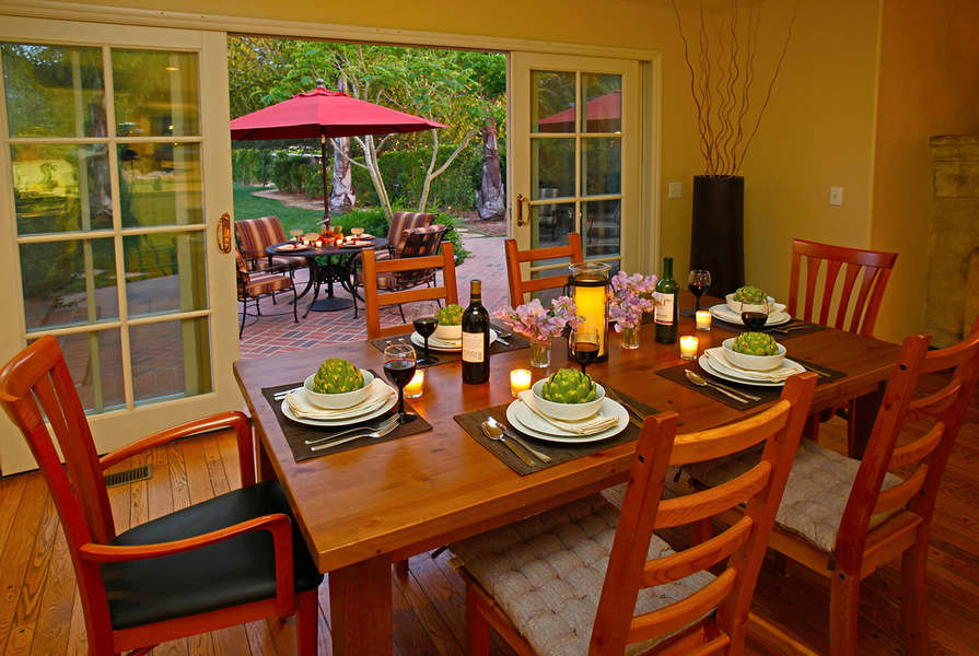 Dining table can seat up to 8
