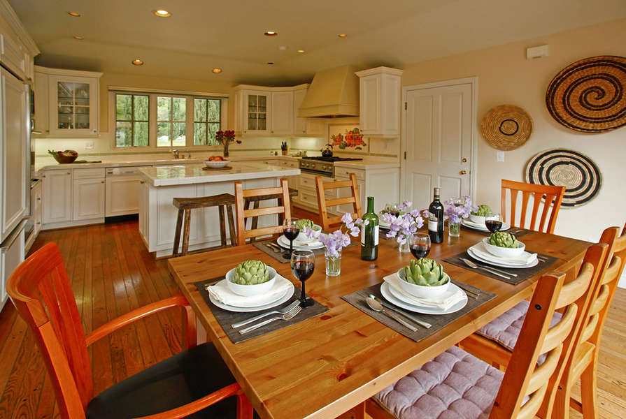 A great Kitchen and Dining Area with patio just outside!