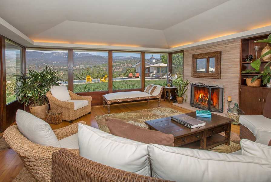 Formal Living Room with fireplace and views