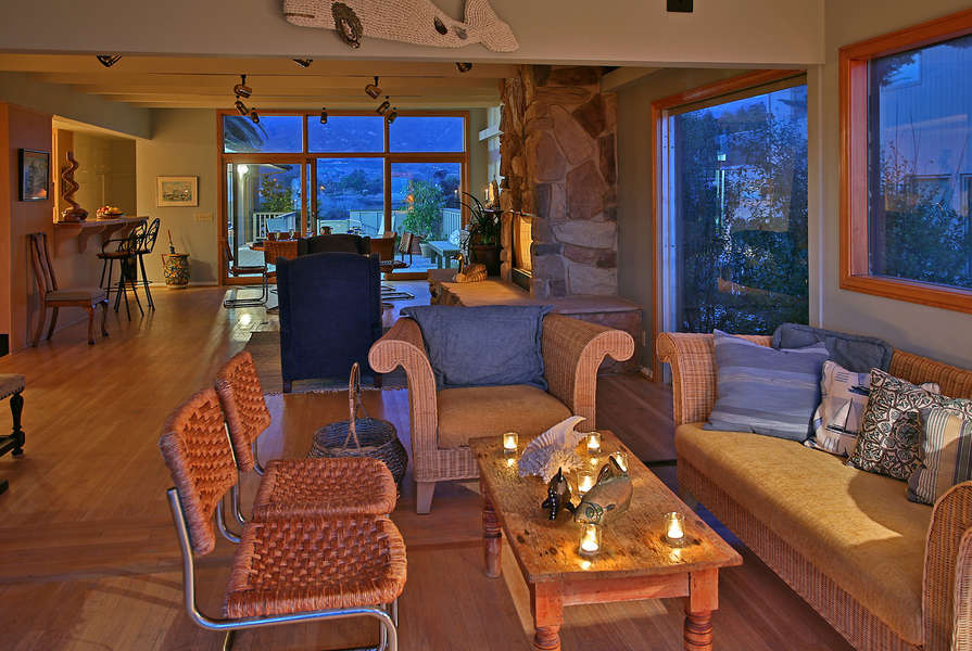 Warm twilight colors in the Family Room